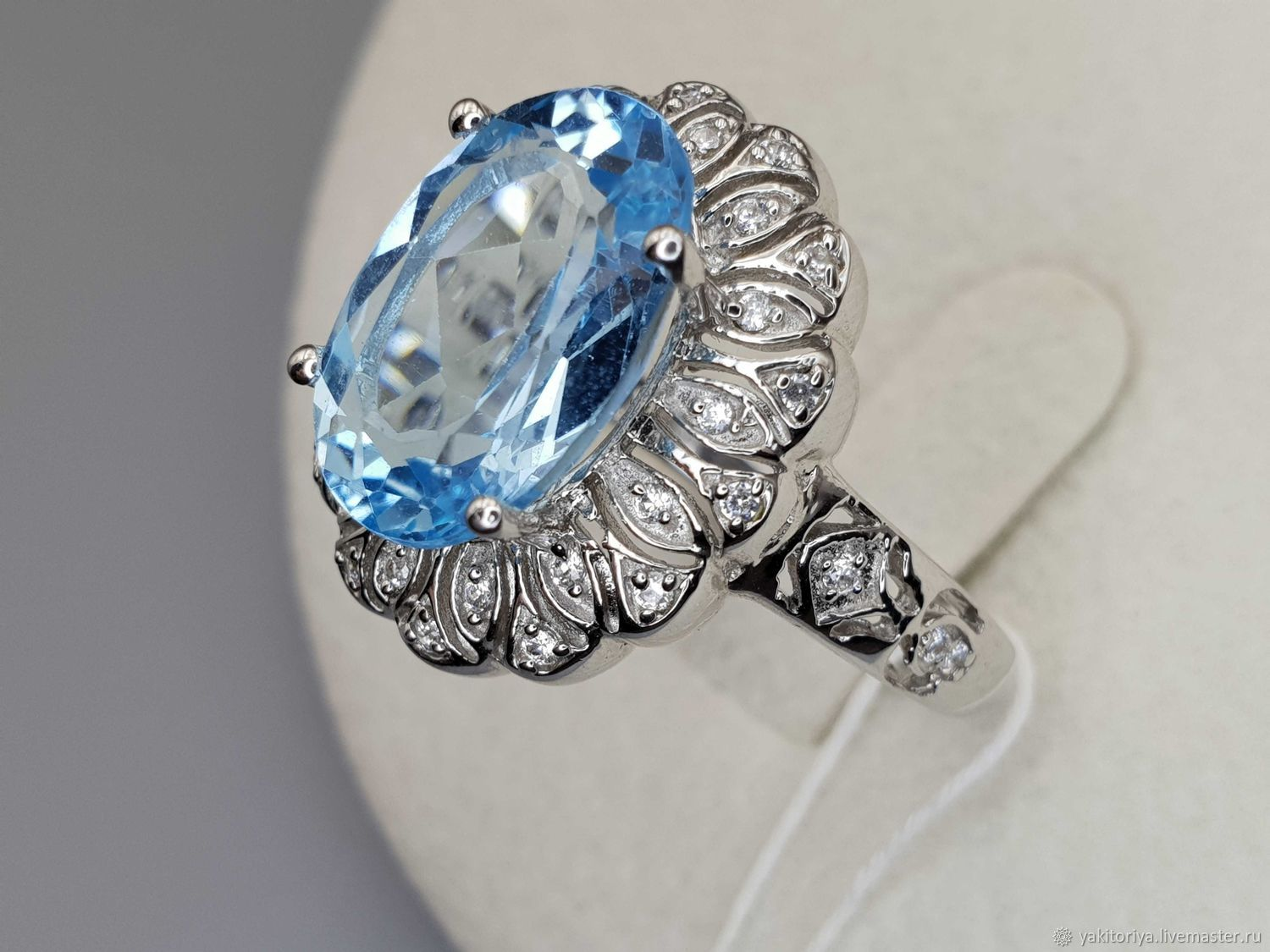 Silver ring with topaz 14h10 mm and cubic zirconia, Rings, Moscow,  Фото №1
