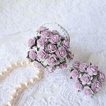 Цветы и флористика ручной работы. Ярмарка Мастеров - ручная работа Бумажные розы 1,5 см Светло-сиреневые Цветы для скрапбукинга. Handmade.