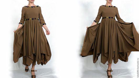 Платья ручной работы. Ярмарка Мастеров - ручная работа. Купить Романтическое платье. Handmade. Хаки