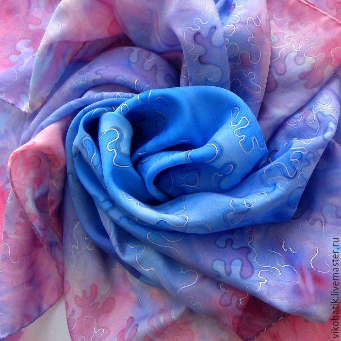 Handkerchief batik silk 100% 'Pink Coral' blue pink, Shawls1, Kislovodsk,  Фото №1