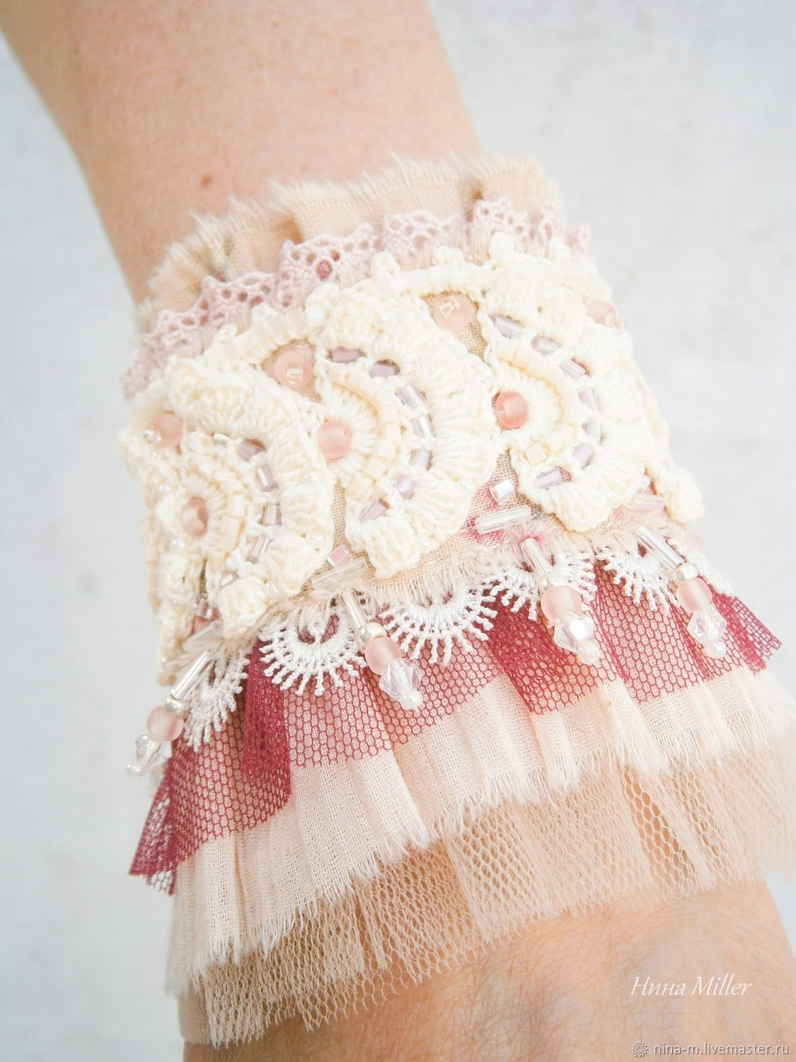 Decoration in the style of boho.Bracelet cuff in Bohemian style. Boho Chic. Vintage. Shabby chic. Lolita.