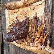 """Картины ручной работы. Ярмарка Мастеров - ручная работа Панно ,, Кабан """".. Handmade."""