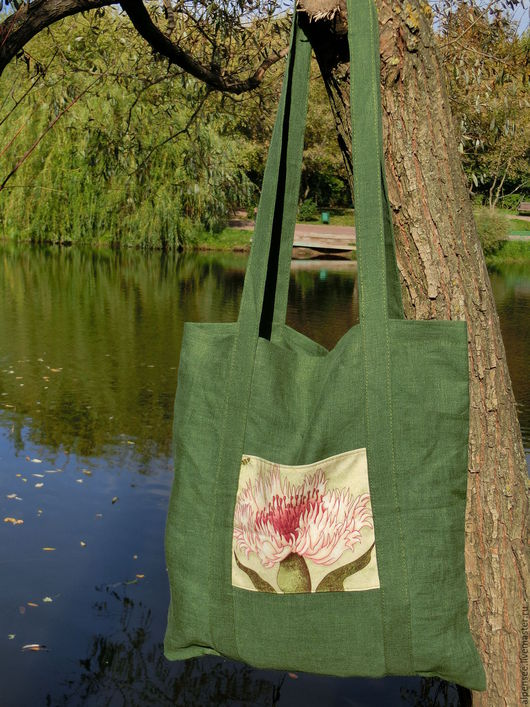 Сумки и аксессуары ручной работы. Ярмарка Мастеров - ручная работа. Купить Льняная сумка шоппер с карманом. Handmade. Зеленый