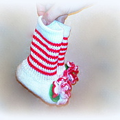 Обувь ручной работы. Ярмарка Мастеров - ручная работа Войлочные тапочки с надвязанными гетрами, для малышей... Handmade.