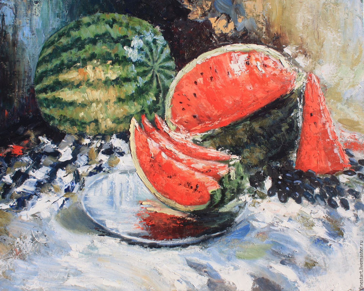 Oil painting still life Watermelon oil Painting still life Watermelon Impressionism Buy painting oil Canvas oil Painting as a gift is not expensive