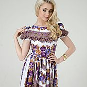 Dresses handmade. Livemaster - original item Dress summer, dress in the Russian style Topaze. Handmade.