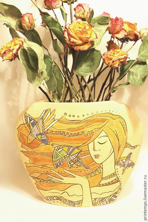 Вазы ручной работы. Ярмарка Мастеров - ручная работа. Купить Ваза керамическая Поющий Ветер. Handmade. Белый, ваза с декором