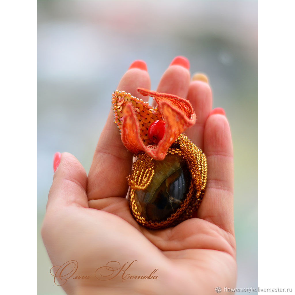 Physalis brooch with simbircite, coral and beading, Brooches, Kursk,  Фото №1