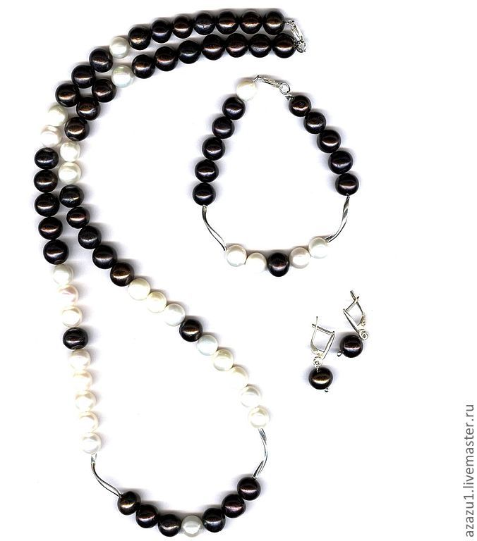 Long necklace of pearls, bracelet, earrings jewelry set, Jewelry Sets, Moscow,  Фото №1
