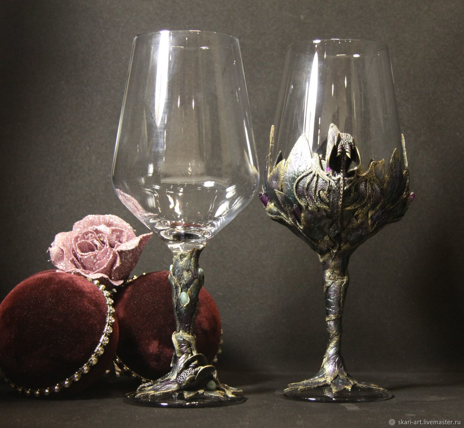 Gift for men and women (pair set) wine glasses, Wine Glasses, St. Petersburg,  Фото №1