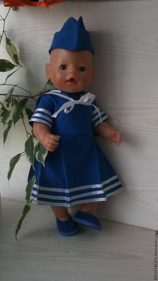 """Одежда для кукол ручной работы. Ярмарка Мастеров - ручная работа. Купить Летнее платьице """" Морячка - 4 """". Handmade."""