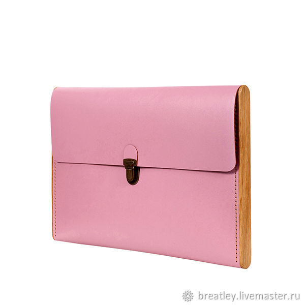 Folder-clutch made of genuine leather and wood-CHANTEY-pink, Clutches, Moscow,  Фото №1