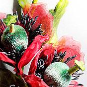 """Цветы и флористика ручной работы. Ярмарка Мастеров - ручная работа ЦВЕТЫ ИЗ ТКАНИ. Бутоньерка """"Японские маки"""". Handmade."""