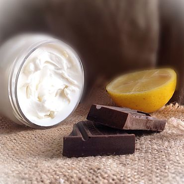Косметика ручной работы. Ярмарка Мастеров - ручная работа Лимон и Какао крем для рук и ногтей с фосфолипоном, для сухой кожи. Handmade.