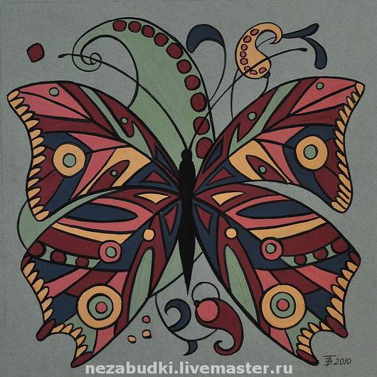 Картина «Бабочка. Композиция в квадрате». Авторские картины. «Forget-me-not» - живопись и реставрация. Ярмарка Мастеров.