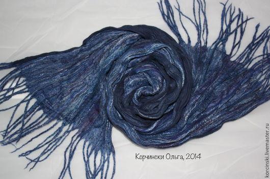 Шарфы и шарфики ручной работы. Ярмарка Мастеров - ручная работа. Купить Шарф мужской из шерсти и шелка темно-синий. Handmade.