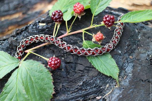 Браслеты ручной работы. Ярмарка Мастеров - ручная работа. Купить Sweet Berry. Handmade. Ярко-красный, кольчужный браслет