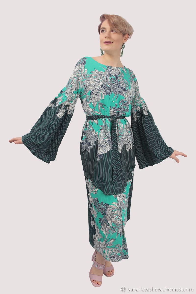 Платье рубашка синее зеленое вискоза длинный рукав, Платья, Москва,  Фото №1