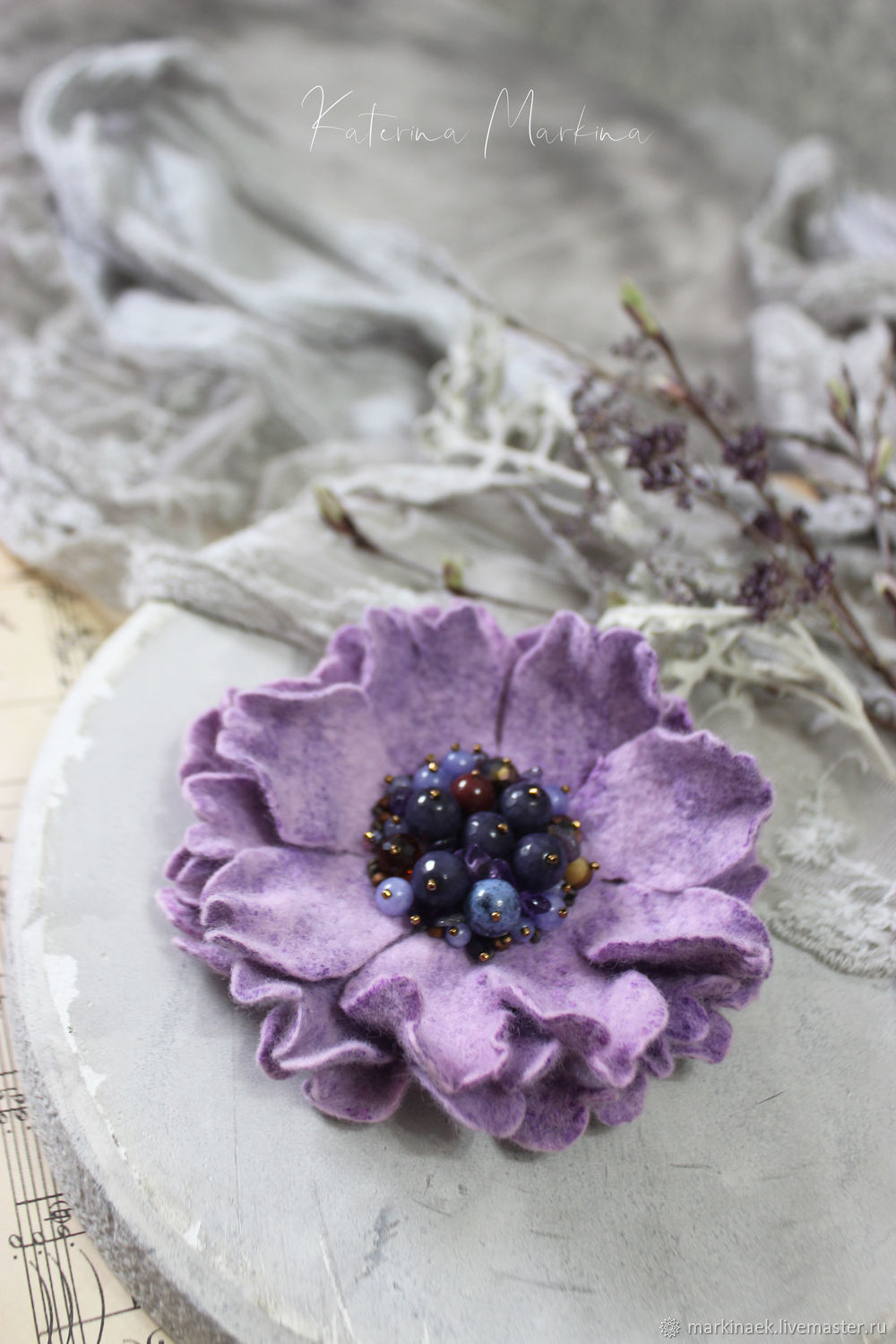 Felt brooch-flower ' Lilac evening', Brooches, Kamensk-Shahtinskij,  Фото №1