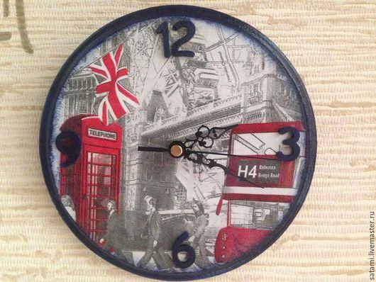 """Часы для дома ручной работы. Ярмарка Мастеров - ручная работа. Купить Часы настенные """"London"""" (Продано). Handmade. Разноцветный"""