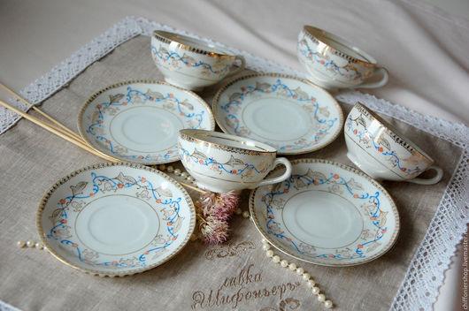 Винтажная посуда. Ярмарка Мастеров - ручная работа. Купить Винтажный японский чайный сервиз, чайные пары. Handmade. Голубой