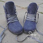 """Обувь ручной работы. Ярмарка Мастеров - ручная работа Ботинки войлочные женские """"Евгения"""" синий серый валенки шерсть. Handmade."""