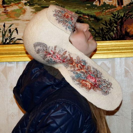 Шапки ручной работы. Ярмарка Мастеров - ручная работа. Купить валяная шапка - ушанка  Морозные узоры. Handmade. Белый