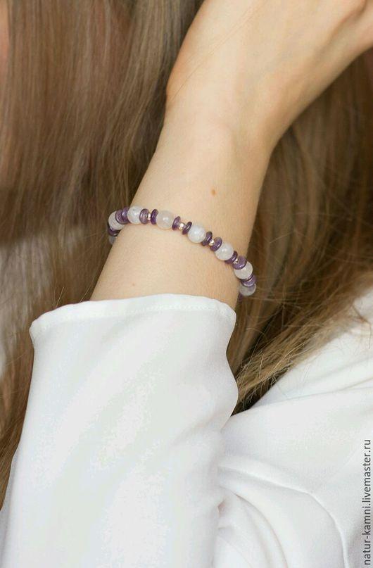 браслет из лунного камня браслет из аметиста украшения натуральные камни браслет натуральные камни минимализм, браслет на заказ, индивидуальные украшения на заказ