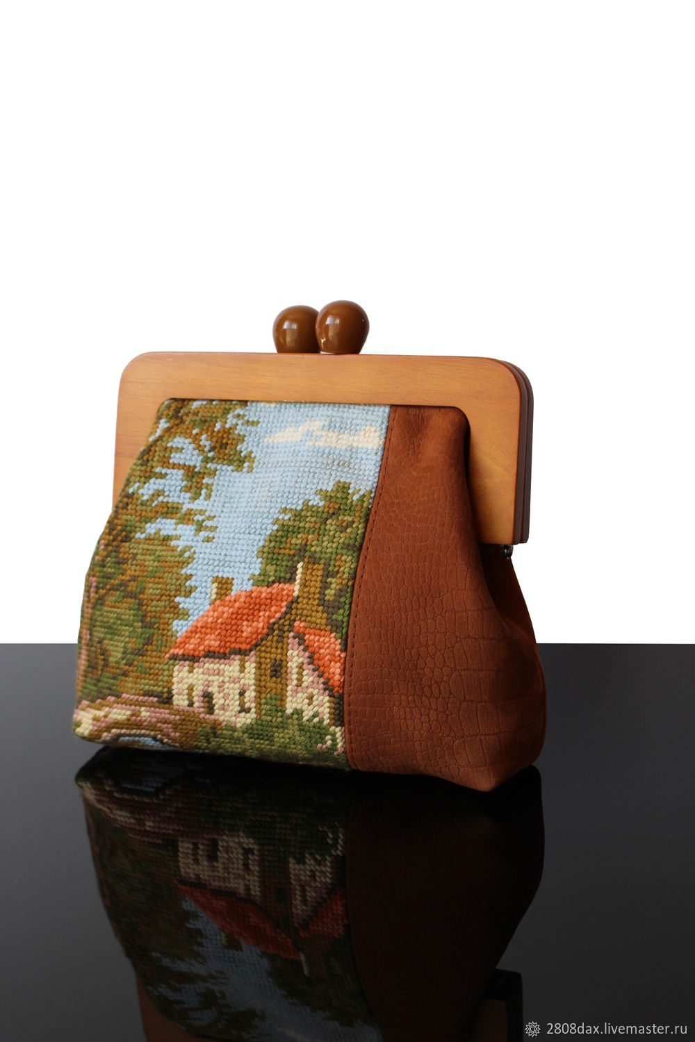 Vintage Large Tapestry clutch bag handmade vintage embroidered, Clutches, Bordeaux,  Фото №1