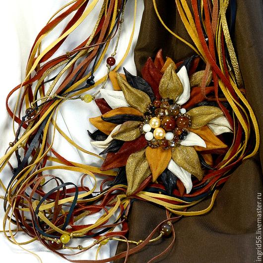 Комплекты украшений ручной работы. Ярмарка Мастеров - ручная работа. Купить Комплект украшений из кожи и замши Осенний блюз брошь и ожерелье колье. Handmade.
