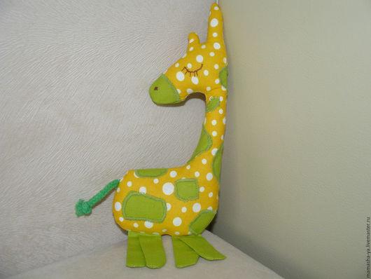 Игрушки животные, ручной работы. Ярмарка Мастеров - ручная работа. Купить Жираф-сплюшка. Handmade. Желтый, для детской, бязь, шнур