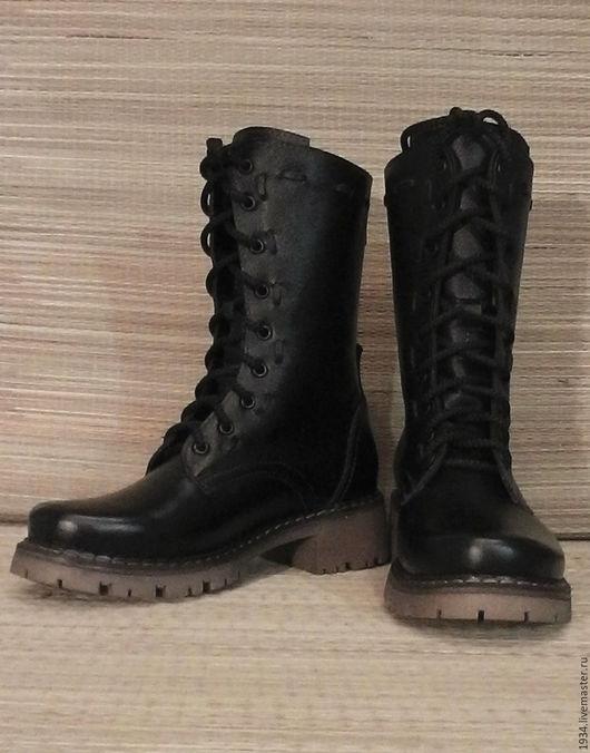 Обувь ручной работы. Ярмарка Мастеров - ручная работа. Купить Ботинки женские Alpha. Handmade. Черный, милитари