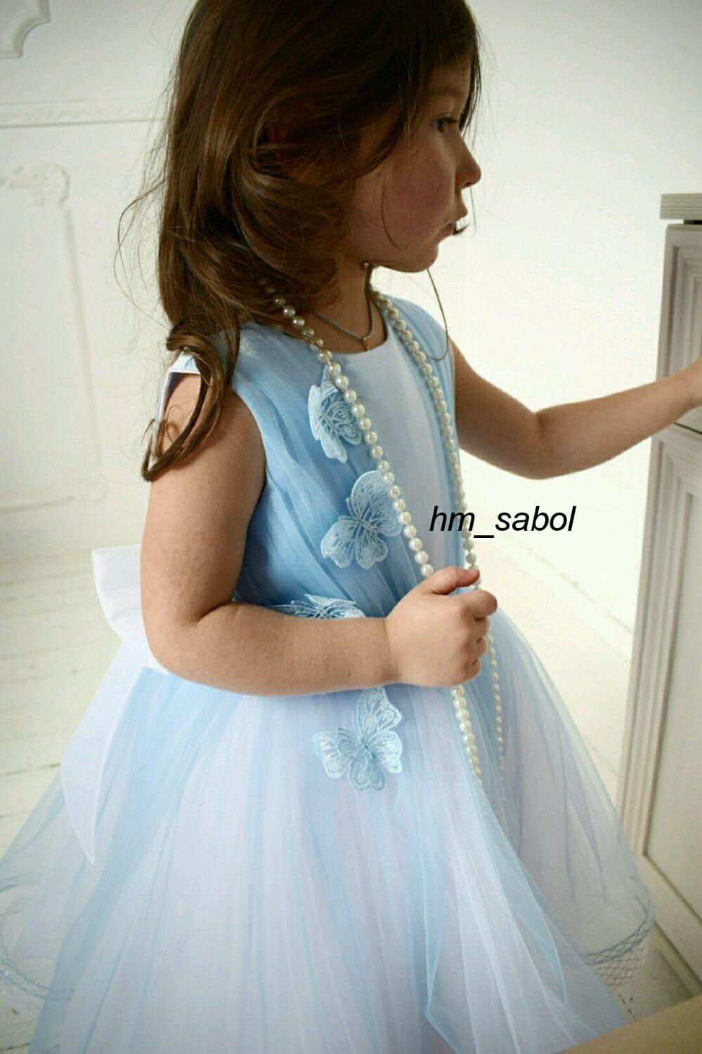 Голубое платье с бабочками для девочки, красивое платье на выпускной, Платья, Йошкар-Ола,  Фото №1