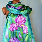 Аксессуары handmade. Livemaster - original item silk scarf batik Irises. Handmade.