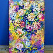 """Картины и панно ручной работы. Ярмарка Мастеров - ручная работа """"Танец Солнечных Бликов"""" - картина маслом букет роз. Handmade."""