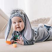 Работы для детей, ручной работы. Ярмарка Мастеров - ручная работа Карнавальный новогодний костюм Зайчик с большими ушками для малышей и. Handmade.