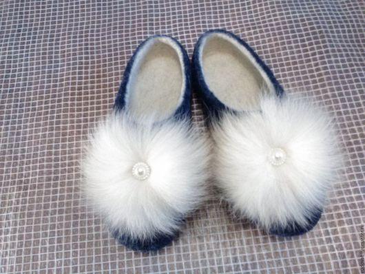 Обувь ручной работы. Ярмарка Мастеров - ручная работа. Купить Валяные тапочки.. Handmade. Тёмно-синий