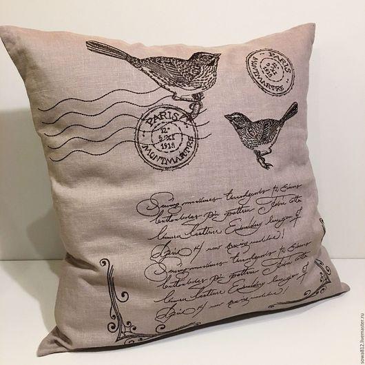 Текстиль, ковры ручной работы. Ярмарка Мастеров - ручная работа. Купить Декоративный чехол на подушку с машинной вышивкой «старинные открытки». Handmade.