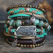 Украшения handmade. Livemaster - original item Leather bracelet in the Boho style