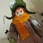 Куклы и игрушки ручной работы. Ярмарка Мастеров - ручная работа Артёмка с эскимо - ватная елочная игрушка. Handmade.