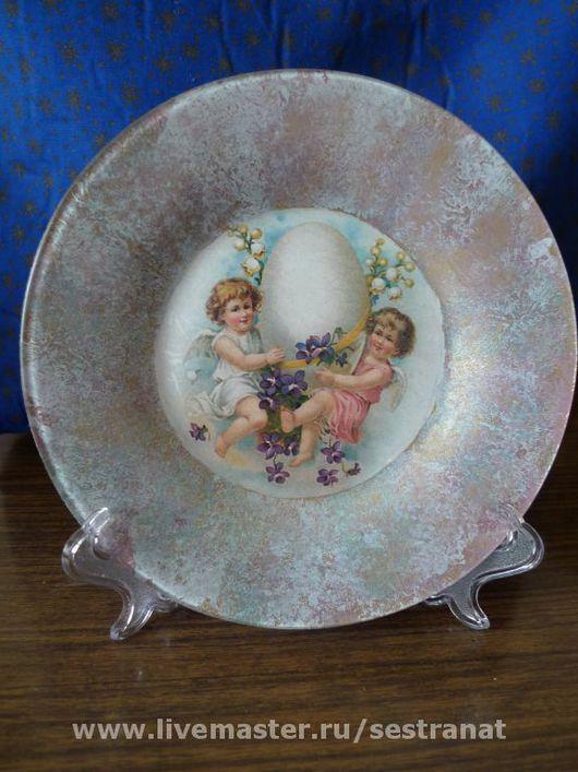Тарелки ручной работы. Ярмарка Мастеров - ручная работа. Купить Ангелы с яйцом. Handmade. Краски марабу (marabu)