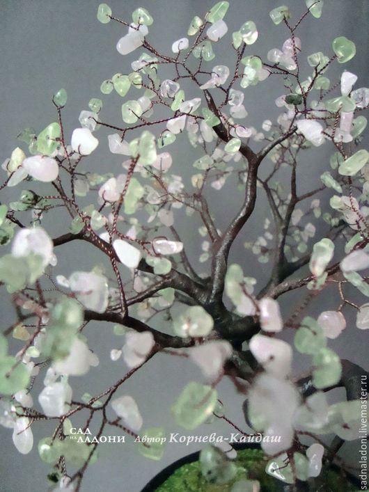 Дерево из пренита и розового кварца. Сакура. Розовый зеленый.  Дерево счастья.  Красивый подарок. Для дома и интерьера. Дерево любви. Сад на ладони.Автор Корнева-Кайдаш. Ярмарка мастеров.