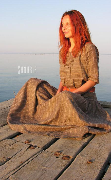 Платья ручной работы. Ярмарка Мастеров - ручная работа. Купить Длинное платье из льна «Свободный стиль». Handmade. Коричневый