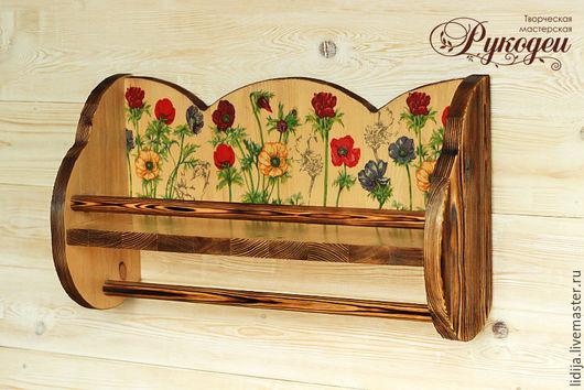"""Мебель ручной работы. Ярмарка Мастеров - ручная работа. Купить Полочка деревянная для кухни """"Лето"""". Handmade. Коричневый, цветы, для кухни"""