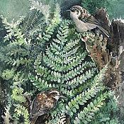Картины и панно ручной работы. Ярмарка Мастеров - ручная работа Картина акварелью с птицами Утро в лесу после дождя. Handmade.