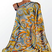 Аксессуары handmade. Livemaster - original item The silk batik shawl Golden-grey. Handmade.