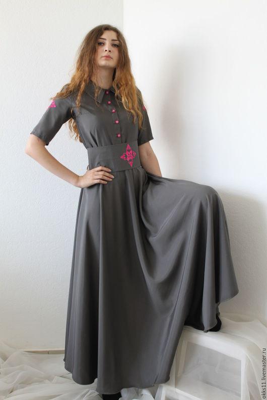 Платья ручной работы. Ярмарка Мастеров - ручная работа. Купить платье. Handmade. Серый, Платье нарядное, Плательная ткань