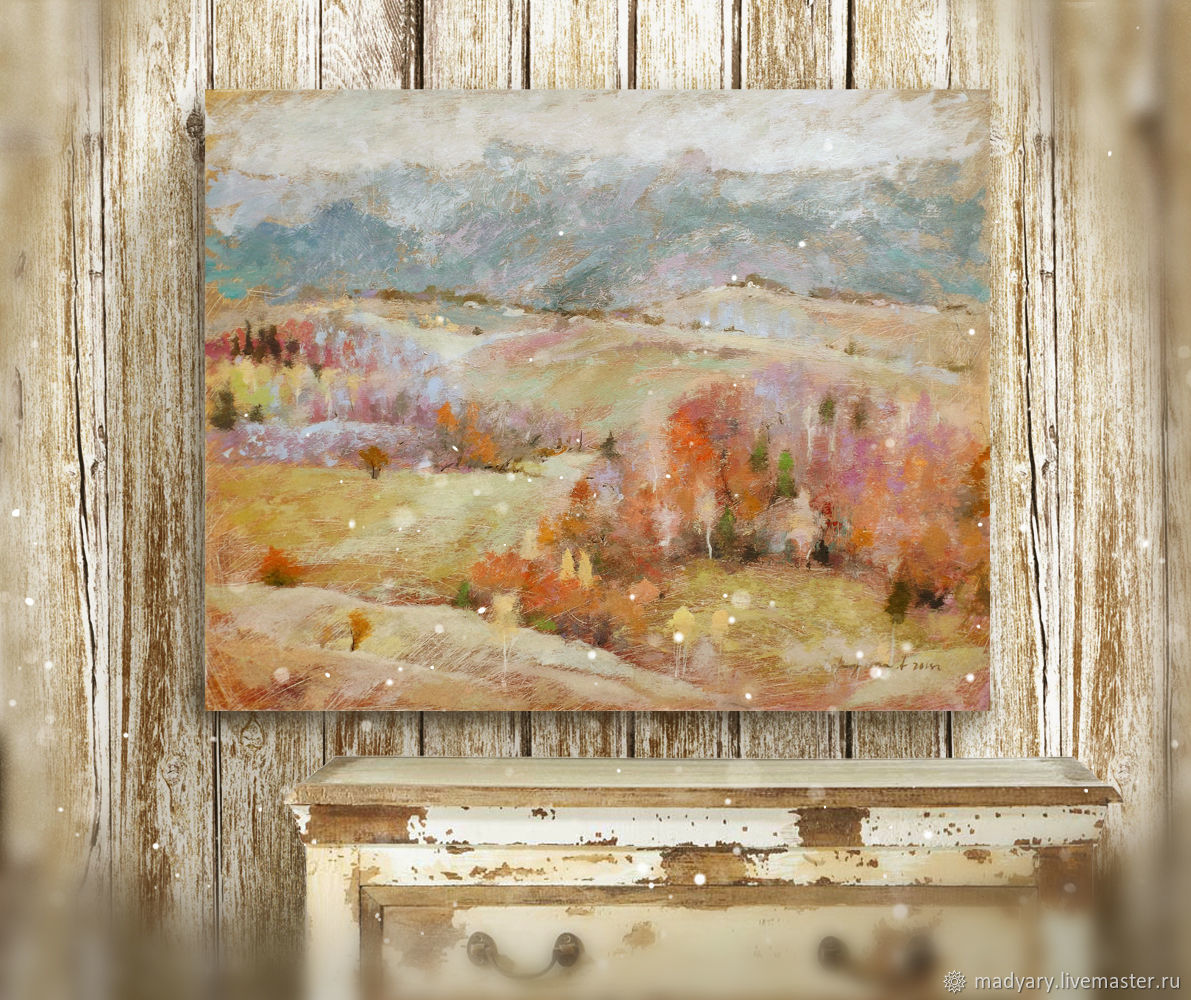 The picture is a song about the autumn (olive, gray, red, autumn landscape), Pictures, Smolensk,  Фото №1