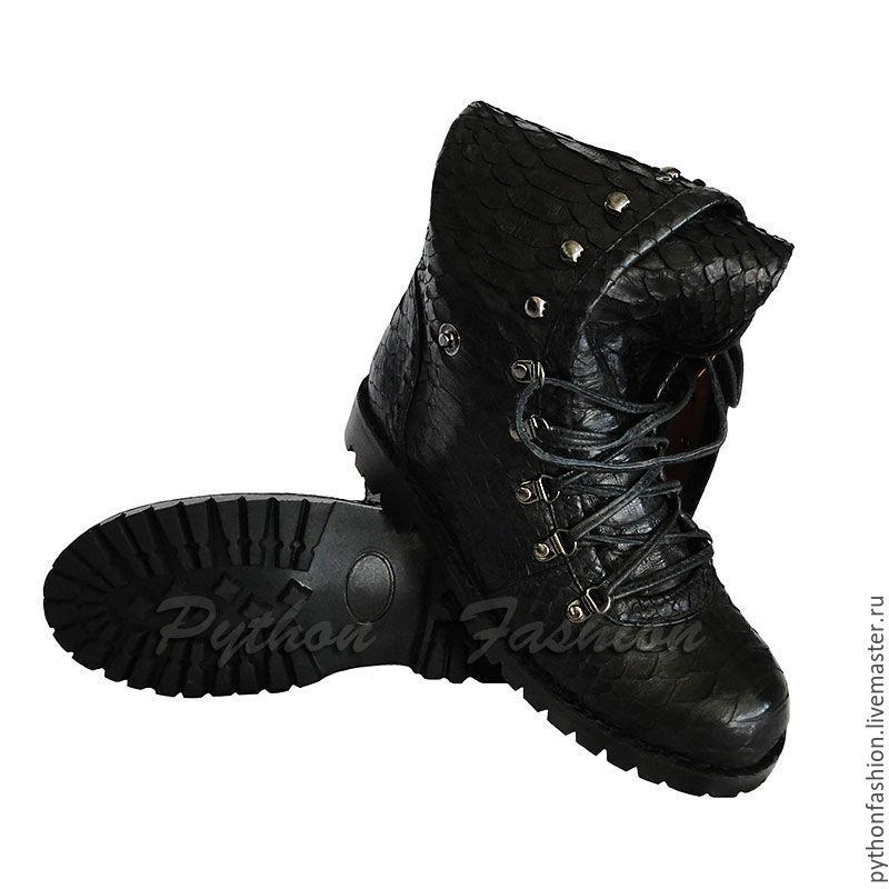 Женские ботинки из питона на шнурках. Дизайнерские ботинки из кожи ... 9f947f22266