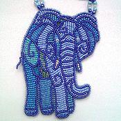 Украшения ручной работы. Ярмарка Мастеров - ручная работа Африканский слон: вышитый бисером кулон. Handmade.